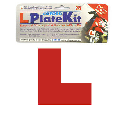 1 Oxford Motorcycle Scooter L Plate Kit Self Adhesive & Rigid 3 Plates OF734 - T