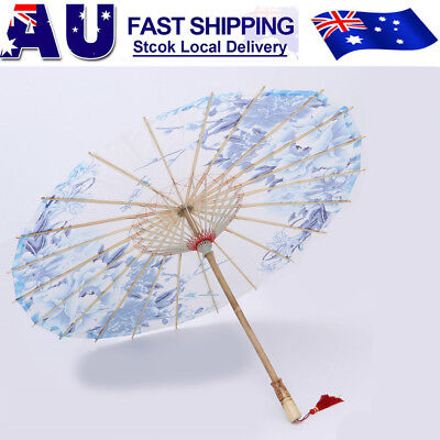 Vintage Chinese Umbrella Art Deco Painted Parasol Dance Oil Paper Umbrella AU