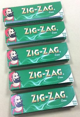 Zig Zag Green King Size Slim Rolling Papers 5 Booklets Uk Seller Genuine Product