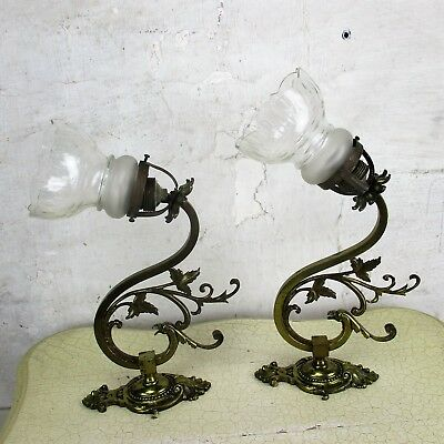 Couple Art Nouveau  Wall Sconces  Etched glass Sconces Brass Bird Eagle Chimera