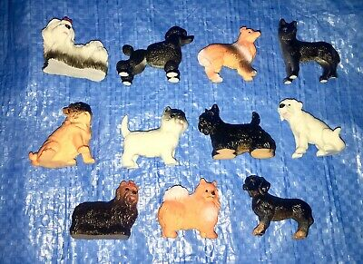 "Lot of 11 Dog Figurines 2"" Small Plastic Dog Decorations Miniatures"