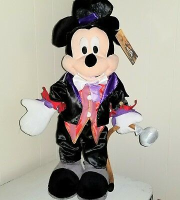 """New 25"""" DRACULA MICKEY MOUSE VAMPIRE Plush Standing NWT Halloween Gemmy Doll"""