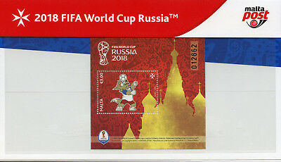 Malta 2018 MNH World Cup Football Russia Zabivaka 1v M/S Pres Pack Sports Stamps