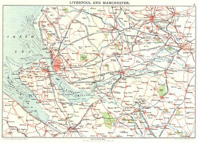 MERSEYSIDE & MANCHESTER. Liverpool Chester Bolton Warrington Wirral 1893 map