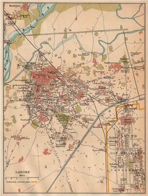 PAKISTAN. Lahore city plan showing the Old Meean Meer Cantonment 1929 map