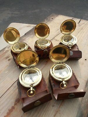 Lot Of 5-Pcs Vintage Brass Push Button Antique Pocket Compass W/ Leather-Box
