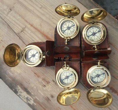 Lot Of 5-Pcs Vintage Brass Push Button Antique Pocket Compass W/ Leather-Box @