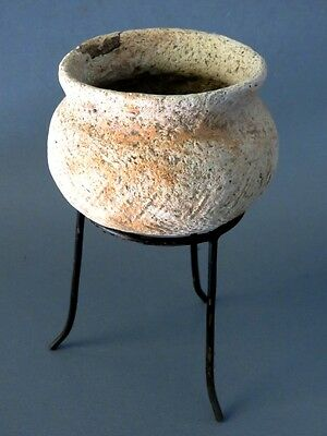 2# Original Ancient Ban Chiang pottery Bowl with Stand From Thailand Cheap LOOK!