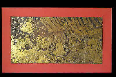 "Beautiful & Rare Large size Thai Painting ""Gilded Black Lacquer on Teakwood"" SEE"