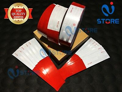"""30 Ft DOT-C2 Conspicuity Reflective Tape 6"""" Red 6"""" White Safety Warning Trailer"""