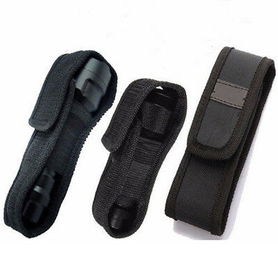 LED Flashlight Torch Lamp Light Holster Holder Carry Case Belt Pouch Nylon E&F
