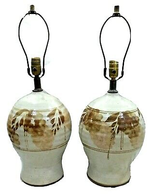 2 Mid Century Modern Mcm Studio Art Pottery Stoneware Lamps Flower Floral Leaves