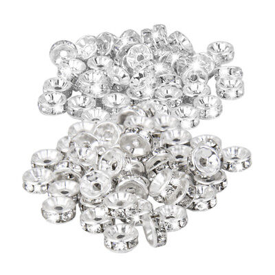 100Pcs Silver Plated Czech Crystal Spacer Rondelle Beads Findings 8mm & 6mm