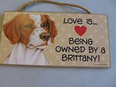 "Brittany Dog Wooden Wall Hanging Sign Newport Beach Pet Project 10"" X 5"""