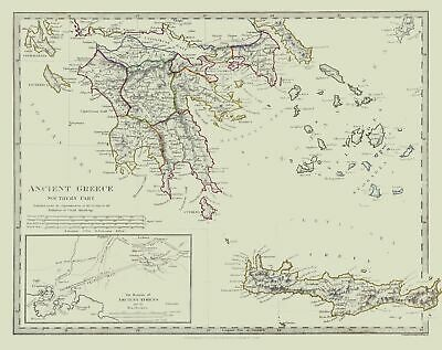 International Map - Ancient Greece - Southern Part - Society 1830 - 29.05 x 23