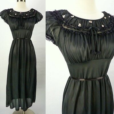 Vintage 70s Black Semi-Sheer Nightgown Size S Babydoll Tie-Back Lace Ruched