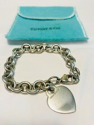 Tiffany & Co Auth Heart Tag Charm Bracelet Sterling Silver Heavy Rolo Links 36g