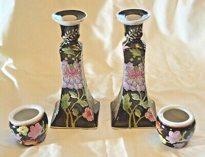 Vintage, Four Piece Chinese Porcelainware Candle Holders, Hand Painted In Macau