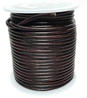 Quality Leather Lacing Cord 3mm dia. ROUND, ANTIQUE DARK BROWN Lengths 1m - 25m