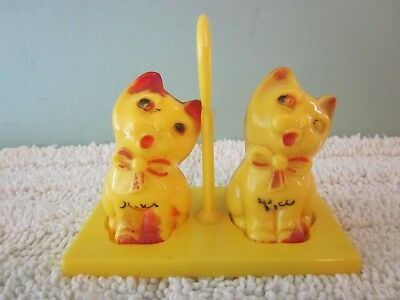 Vintage 1950's Plastic Yellow Kitty Cat Salt & Pepper Shakers