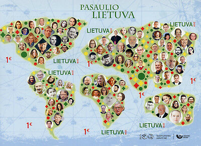 Lithuania 2018 MNH Lithuania in the World 6v S/A M/S Geography Maps Stamps