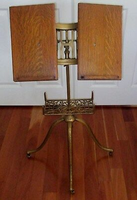 Book Stand, Antique Adjustable Cast Iron & Oak,Very Good condition,