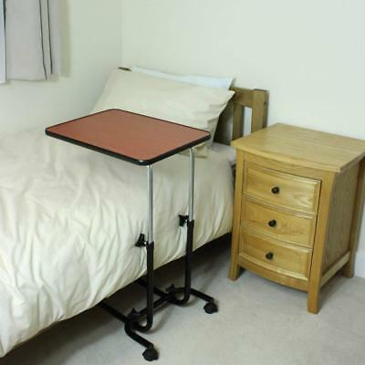 Adjustable Overbed Chair Table Mobility Elderly Hospital Tray Steel Portable New