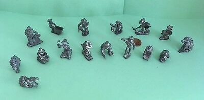 Lot of Miniature Figurines Gold Miners Diggers Donkeys Metal Pewter? 16 Unsigned