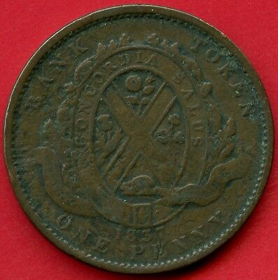 "1837 Lower Canada ""City Bank"" 1 Penny / Deux Sous Coin Token"