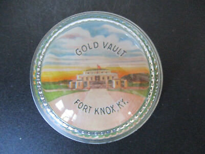 Circa 1960's Souvenir Glass Paperweight Gold Vault Fort Knox Kentucky #136