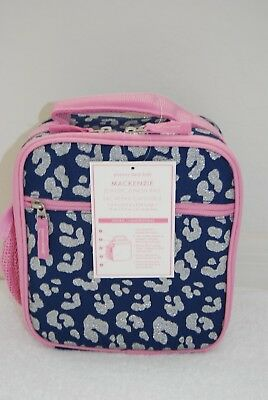 Pottery Barn Kids Pink Navy Cheetah Silver Glitter Classic Lunch Bag Box NO MONO