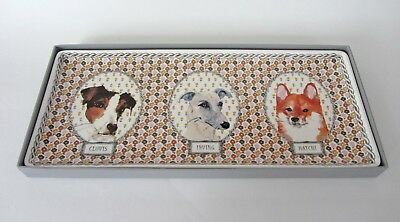 """Gien Darling Dog Serving Tray 14""""x 6"""" Oblong Faience France NEW"""