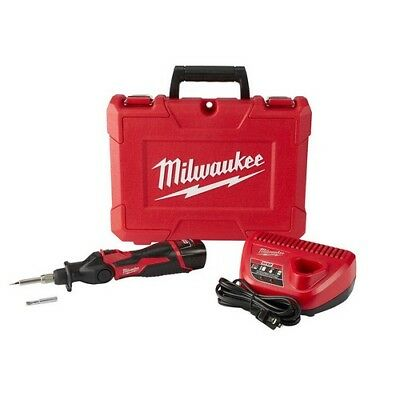 Cordless Soldering Iron Kit 12V Lithium Ion 1.5Ah Battery Charger Case Milwaukee