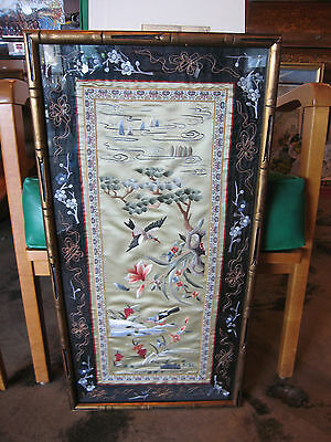 Antique Chinese Late Qing Early Republic Likely Silk Textile Art Birds & Flowers