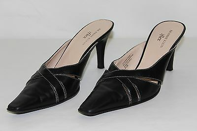 d4bf8315f64 AK Anne Klein Iflex Womens 8.5 M Black Leather Slides Slip Ons High Heels  Shoes