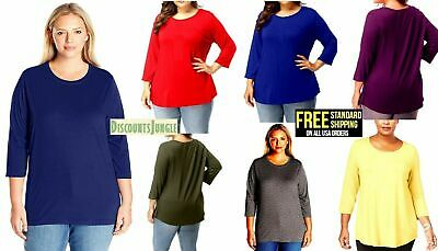 Women's Plus Size T-SHIRT Scoop Neck Bamboo Top Casual Soft Loose Fit 1X 2X 3X
