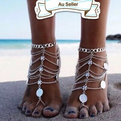 Bling Barefoot Beach Sandals Bridal Wedding Anklet Foot Ring Jewelry