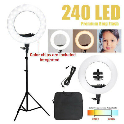 "12"" SMD LED Ring Light Dimmable 6200K Continuous Lighting Photo Video Kit USA"