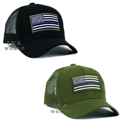 USA Flag hat cap POLICE THIN BLUE LINE SUPPORT LAW ENFORCEMENT Mesh Snapback 22a58b65643