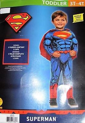 NEW Superman Padded Jumpsuit Halloween Costume Size Toddler 3T - 4T