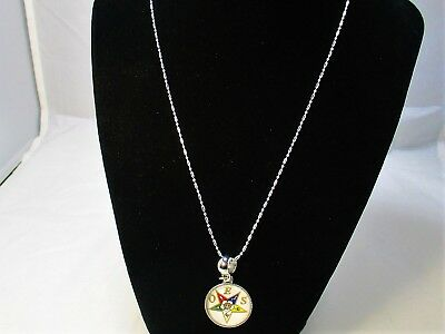 "OES - Order of the Eastern Star Pendant and Necklace 20"" Inch Necklace"
