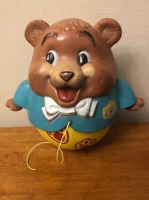 Vintage 1969 Fisher Price Chubby Cub CHIME BEAR PULL TOY No 164 ROLY POLY