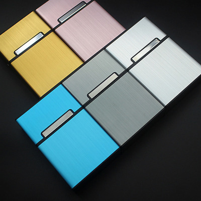 Aluminum Grey Metal Cigar Cigarette Box Pocket Tobacco Storage Case New in US