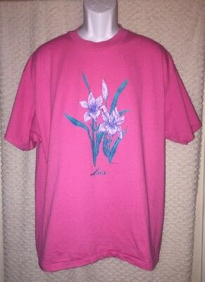 Pink 90's Vintage Iris Flowers t-shirt size adult XL, pre-owned