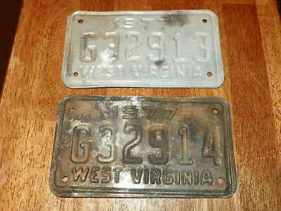 Lot of 2 vintage West Virginia WV 1977 MOTORCYCLE License Plate G32913 & G32914