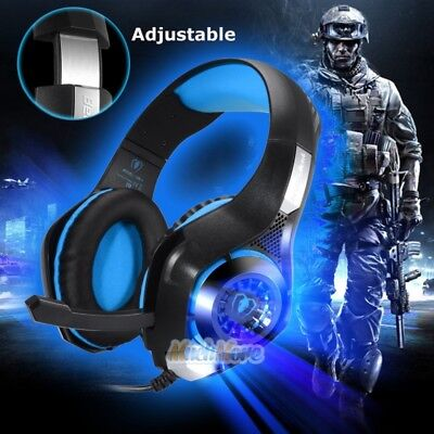 Gaming Headphones 3.5mm Stereo Headset With Mic &LED Light for PC Laptop Xbox