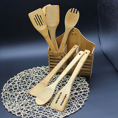 5 Pc Set Bamboo Spoon Utensil Kitchen Wooden Cooking Tools Spoon Spatula