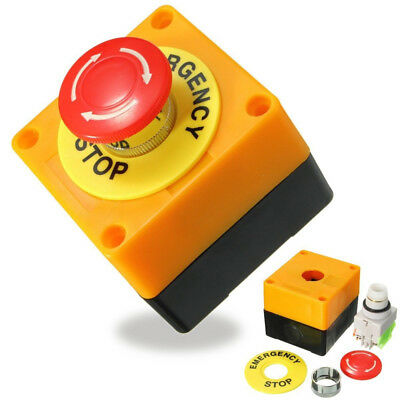 Yellow 10A 660V Red Sign Mushroom Emergency Stop Push Button Switch Station NE8