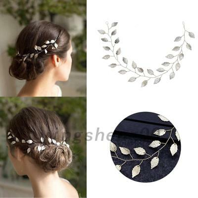 Gold Alloy Chain Vine Leaf Flower Headband Tiara For Wedding Bridal Jewelry Hair