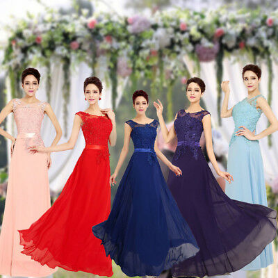 Lace Long Evening Bridesmaid Dresses Vintage Formal Party Dress 	Sleeveless New
